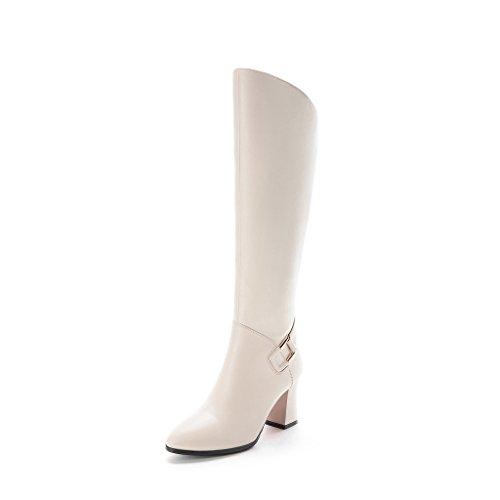 Aluk- Automne Et Hiver - Bottes Hautes Avec Des Bottes À Talons Hauts Chaussures De Chevalier Avec Des Bottes (couleur: Blanc, Taille: 39 Pieds Longueur 245cm) Blanc