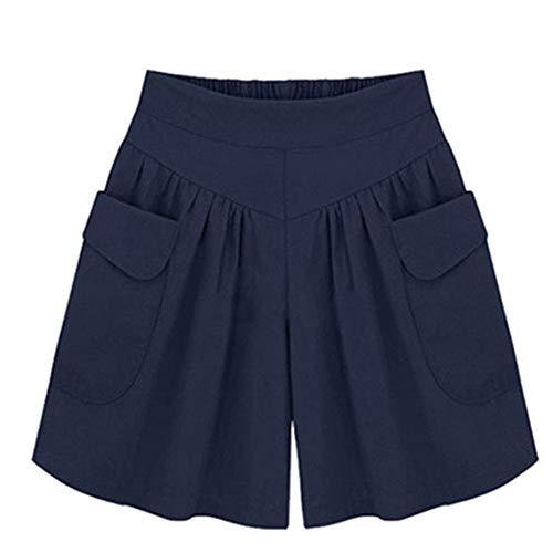 ZHOUJINGTIAN Shorts für Mädchen Xia Jiafei XL Frauen weites Bein Shorts Wilde Hot Pants Rock Marineblau S