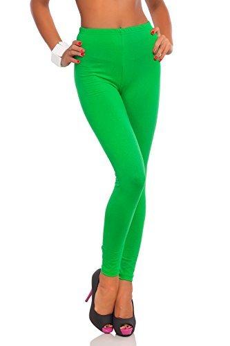 futuro fashion voller Länge Baumwolle Leggins alle Farben alle Größen aktiv-hose Sport Hosen - Grün, EU 40 - L (Hose Grüne Hosen)