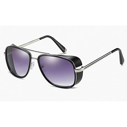 GBST Male Steampunk Sunglasses Tony Stark Iron Man Matsuda Sunglasses Retro Vintage Eyewear Steampunk Sun Glasses Uv400 Oculos De Sol,Blue