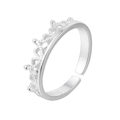 Gl Ring S925 Silber Krone Ring süße Prinzessin Fan Lady Ring Zwei Stück