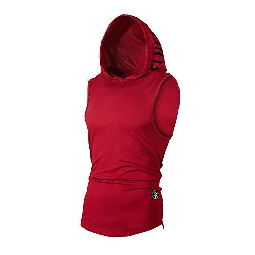 UJUNAOR Tank Top Herren Slim Fit Basic T-Shirt Tankshirt Mit Kapuze Ärmellos Muskelshirt Fitness Unterhemden(Rot,EU M/CN L) - Modernen-wand-einheit