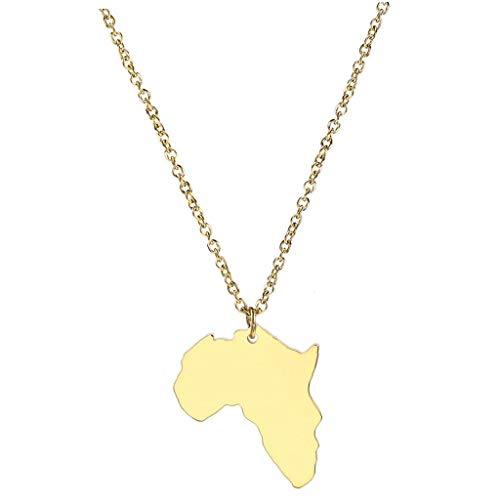 Afrika-Karte Halskette Gold Farbe Anhänger Unisex Edelstahlschmuck (Gold Afrika-karte Anhänger)