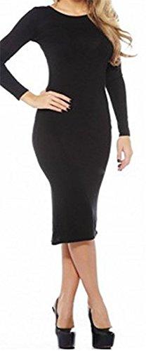 Vanilla Inc - Robe - Moulante - Manches Longues - Femme noir * taille unique Noir