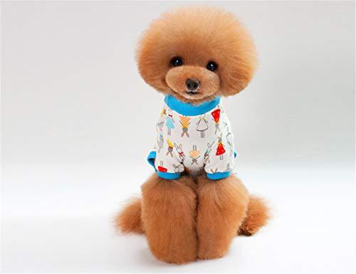 Furry White Kostüm - PZSSXDZW Hundepyjamas Frühling und Sommer Pet Kleidung Vierbeinige Baumwolle Kaninchen grundiert Hemd Haustier Hundepyjamas White XX-Large