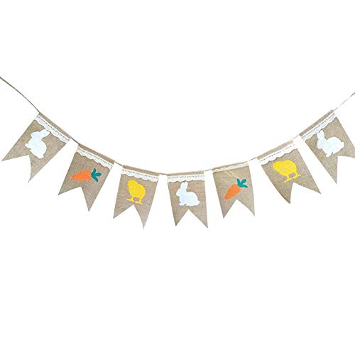 Adherevi Sackleinen Wimpel Banner, Multicolor Stoff Dreieck Flagge Bunting Für Ostern Und Festival Hängen Dekoration Ostern Für Party Supplies Foto Requisiten