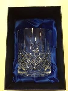 Hand cut Kristall Whisky Glas, in mit Seide gefütterter Geschenkbox -