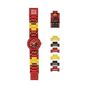 LEGO Ninjago 8021414 Kai Kinderuhr mit Minifigur und Gliederarmband zum Zusammenbauen , rot/schwarz , Kunststoff , 28mm Gehäusedurchmesser analoge Quarzuhr , Junge/Mädchen , offiziell