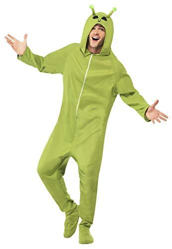 Kostüm Alien Grün mit Kapuzenoverall, Large