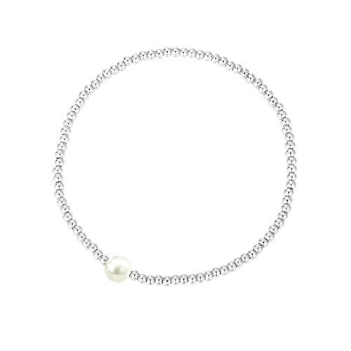 MetJakt Sleek 2,5 mm Elastische Perlen 18K Gold Plated Sterling Silber Classic Stretch Armband Verschiedene Anhänger (Perle, Sterling Silber) - Perlen-anhänger