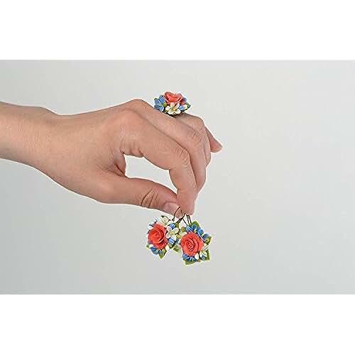 figuras kawaii porcelana fria Juego de bisuteria de porcelana fria artesanal pendientes y anillo con flores