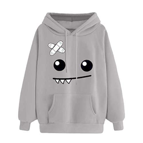 emoji sweatshirt KEERADS Damen Pullover Langarm Emoji Drucken Sweatshirt Langarmshirt Hoodie (L, Grau A)