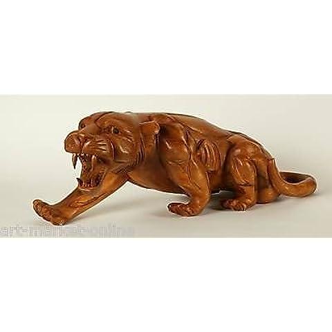 Grosser Tiger denti a sciabola in legno massiccio intagliato a mano 100% fatto a mano ca. 70x 25x 23cm