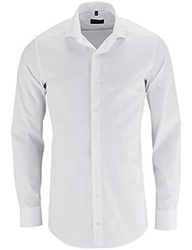 Eterna Herrenhemd Herren Baumwoll Hemd Baumwollhemd Business Freizeit Langarm Slim Fit Weiß