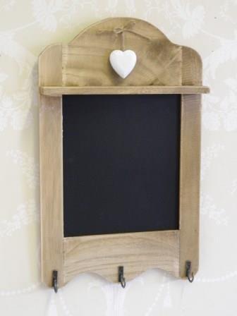 scalloped blackboard with 3 hooks, tea towel hooks, chalk board with heart