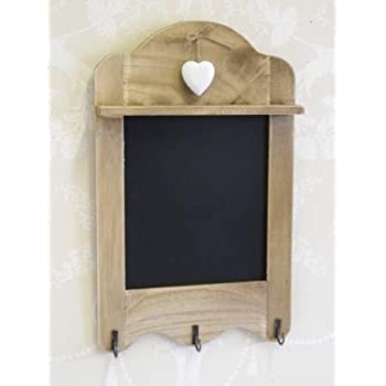 scalloped blackboard with 3 hooks, tea towel hooks, chalk board with heart