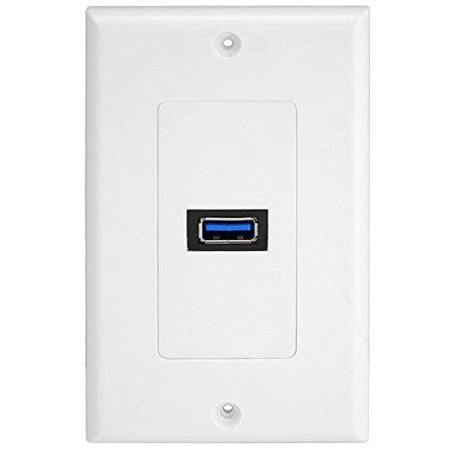 Dual-port-wall Plate (Wandplatte Wandsteckplatt Panel USB 3.0 Port Outlet rechteck wanddose Tafel Netzkabel und Mehrfachsteckleisten)