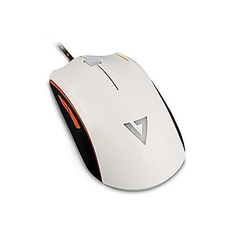 V7.GG GM120 Pro Gaming Maus (4000dpi, Multicolor LED, 6 Programmierbare Tasten) Weiss