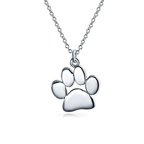 Cani Gatti Pet Cucciolo Gattino Paw Stampa Collana Pendente Per Donne Per Teen Lucidato Argento Sterling 925 Con Catena