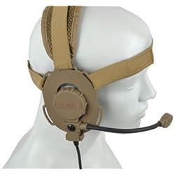 Z-TAC Z-Tactical Z029 micrófono Headset Bowman Evo III laterales dobles táctica militar para auriculares adaptador DE micrófono Radio DE caza Tan con correa