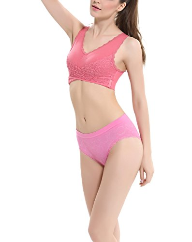 COCO TOE® Damen Lace Bralette Soft Tops Bustier BH Ungepolsterte Cups Red