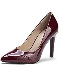 fb2e3b1364af7 VogueZone009 Mujer Slip-on Sintético Charol Tacón Alto Puntera en Punta Zapatos  de Tacón