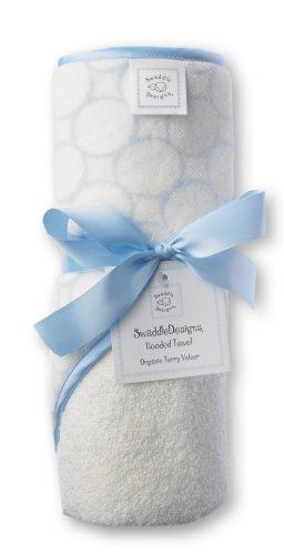 SwaddleDesigns Baby-Kapuzenhandtücher aus Bio Baumwolle, Poppige Kreise und Kapuze mit Satinabschlüssen, Pastellblau