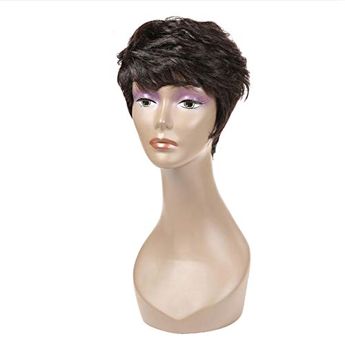 Wigs for Lady Short Curly Hair Woman Oblique Bangs Cut Lace Front Hair Party Dinner Makeup Headwear Human Light Skin Medium Brown Hair Solid Color Hair Headwear Baby Hair Pixie Remy Hair