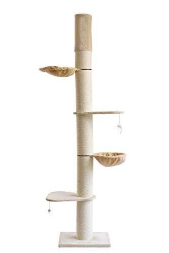 Clamaro 'Athen' XXL Katzenbaum deckenhoch höhenverstellbar (beige), Katzen Kratzbaum extra groß mit Ø 20 cm Sisal Säulen, 2 Liegeplätzen und 2 Liegemulden - Maße (B/T/H): 50 x 60 x 235-275 cm