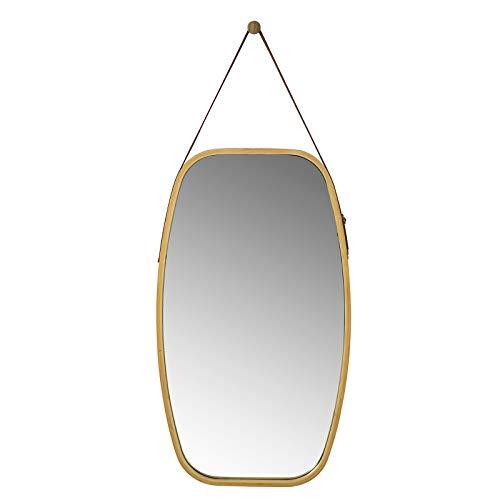 SoBuy BZR12-N Spiegel Wandspiegel Hängespiegel Flurspiegel Garderobenspiegel mit verstellbarem Gurt Türspiegel aus Bambus BH ca.: 77x44cm