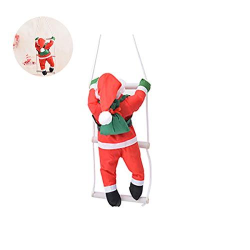 Ihomiki bella decorazione natalizia a forma di babbo natale con arrampicata sulla corda, decorazione da parete per finestra, piacevole regalo 15.7