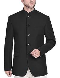 Blacksmith Navy Blue Polyester Jodhpuri Blazer Jacket for Men - Navy Blue Jodhpuri Coat for Men