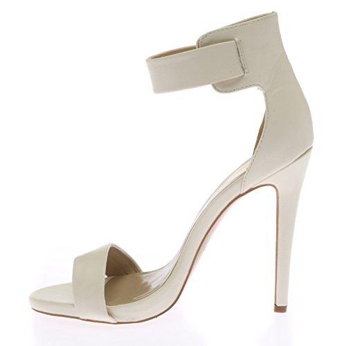 My1stwish Femmes Bout ouvert Nervure à la cheville Haut Chaussures Blanc