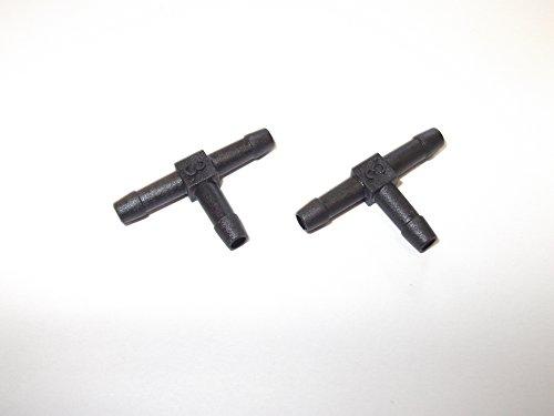 2 x 3 mm 1/20,3 cm Plastique barbelé Raccord en T Raccord de tuyau en plastique Noir cannelé Eau carburant étang Aquarium Tube d'air