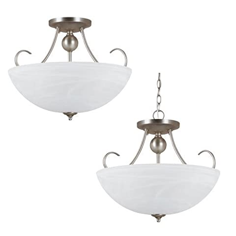 Sea Gull Lighting 77316BLE-965 Convertible Semi-Flush/Pendant with White Alabaster Glass Shades, Antique Brushed Nickel Finish by Sea Gull Lighting