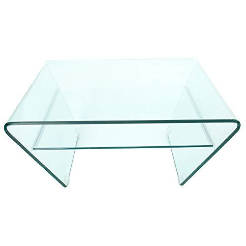 Invicta Interior Moderner Glas Couchtisch FANTOME 70cm Trapez mit Ablage transparent Glastisch Wohnzimmertisch Tisch -