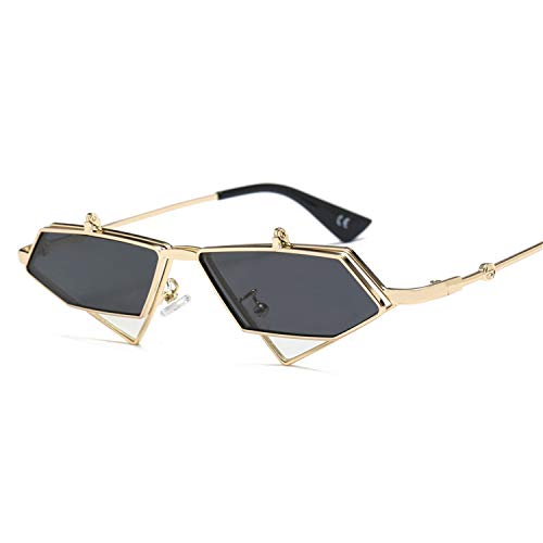 Daawqee Gafas de sol,Gafas para fiestas,Gold Steampunk Flip Up Sunglasses Men Vintage Red Metal Frame Triangle Sun Glasses For Women NEW Uv400 as show in photo gold with brown