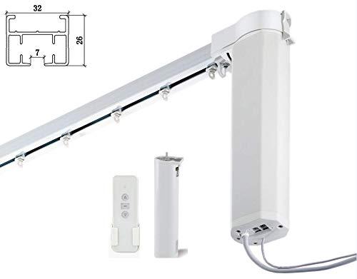 HC Smart Wifi Elektrische Vorhangschienen, motorisierte Gardinenstangen, automatische elektrische Gardinenstange für Heimautomation, 350 cm, metall, weiß, Center Open & Ceiling Brackets