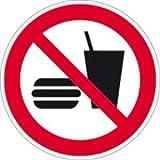 Aufkleber Essen und Trinken verboten gemäß ASR A1.3/ DIN 7010, Folie selbstklebend 10cm Ø (Verbotsschild) praxisbewährt, wetterfest