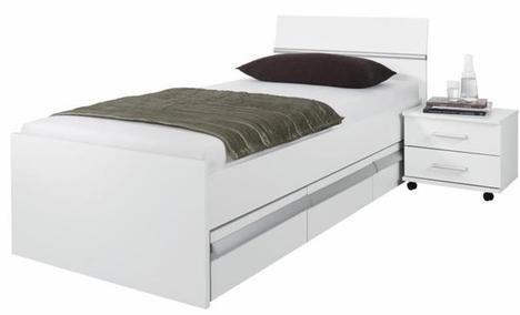 Rauch Bett mit Schubladen 90×20 Weiß mit Absetzungen Alufarben Nachbildung