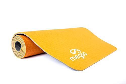 MEGLIO TPE Yogamatte - Pilatesmatte - umweltfreundliche rutschfeste TPE Yogamatte - 8mm Dicke - für Yoga, Pilates, Fitnesstraining und Meditation - grün/orange - kostenloser Tragegurt inbegriffen