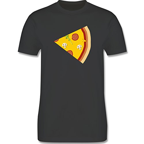 Shirtracer Partner-Look Pärchen Herren - Pizza Pärchenmotiv Teil 2 - Herren T-Shirt Rundhals Dunkelgrau
