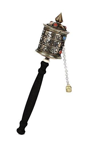 Bermoni Tibetisches Handgebetsrad mit grünem Schutztasche-20cm- (CS-Mane-B3) - Gebetsmühle Tibetische