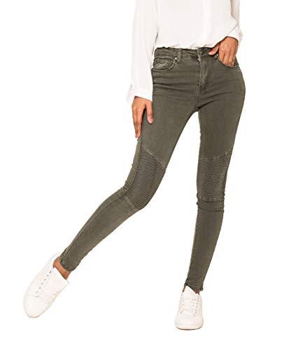 Nina Carter Damen Skinny Slim Hose Biker Look kaki Stretch Baumwolle größe 40