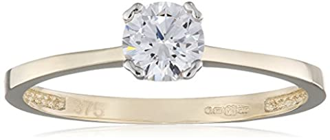 Citerna 9 ct Yellow Gold Engagement Ring with a Cz Stone in Gallery Setting