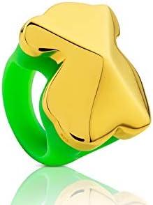 TOUS anillo de mujer, Tack de plata vermeil y silicona verde - Talla 13