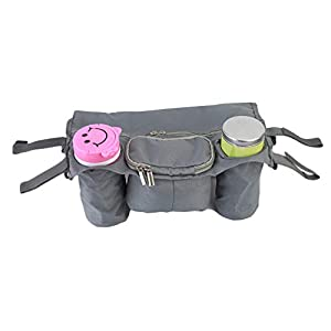 Toporchid Baby Stroller Rear Hanging Tray Hanging Bag Cup Magazine Bottle Organizer Waterproof Oxford Cloth Storage Bag(gray)   9