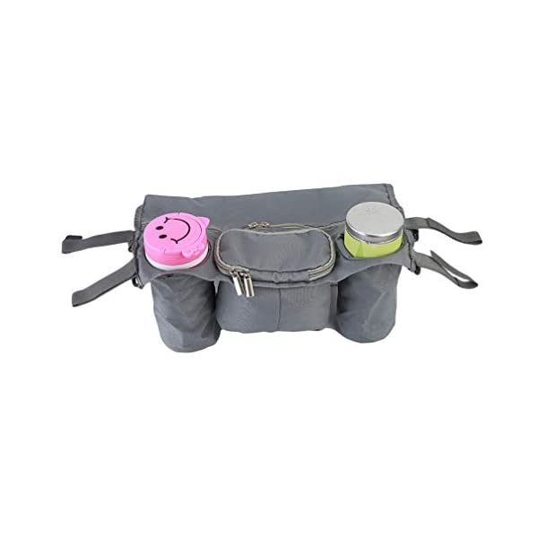 Toporchid Baby Stroller Rear Hanging Tray Hanging Bag Cup Magazine Bottle Organizer Waterproof Oxford Cloth Storage Bag(gray) Toporchid Material:Oxford cloth Size:Length, width and height are about 36*22*14cm It can be a good storage for bottles, cups, paper towels, Etc., is also very easy to get. 1