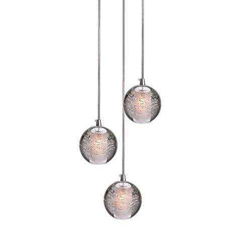 Led cristallo palla lampada a sospensione per soggiorno loft scala foyer sala da pranzo tavolo bar camera da letto cromo luce pendente lampadario da soffitto moderno plafoniere, 3 luci