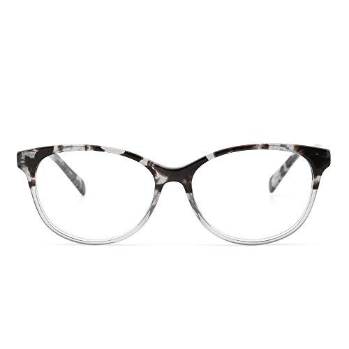 JIM HALO Retro Brille Optischer Rahmen Federscharnier Klar Linse RX-fähig Gläser Damen ()